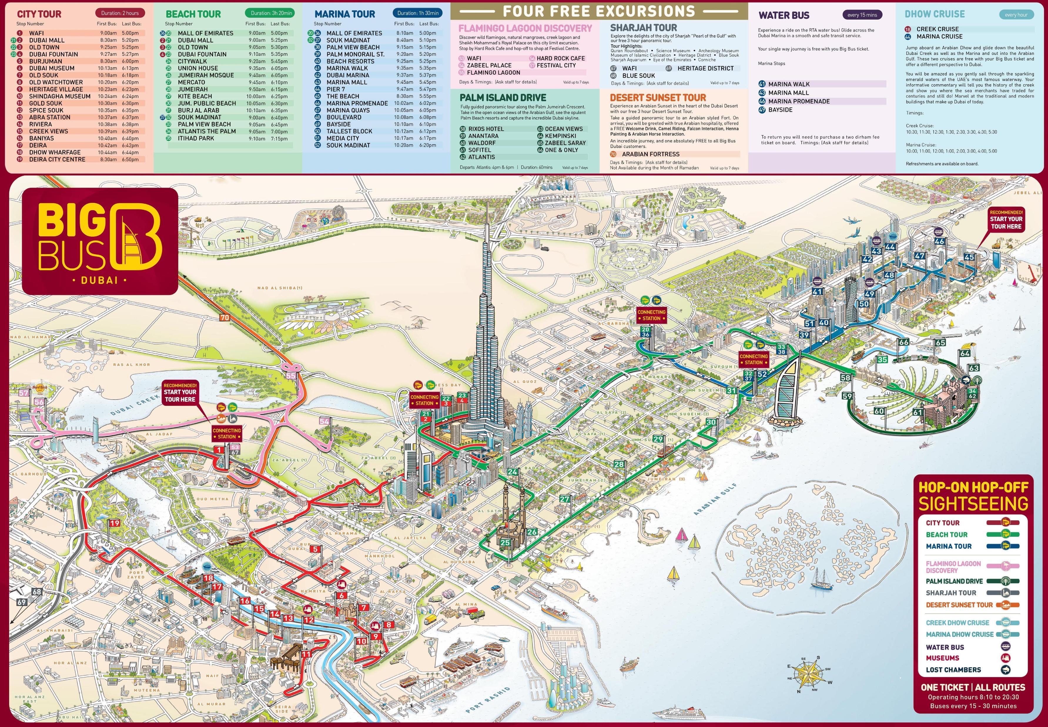 Dubai Attractions Map Map Of Dubai Attractions United