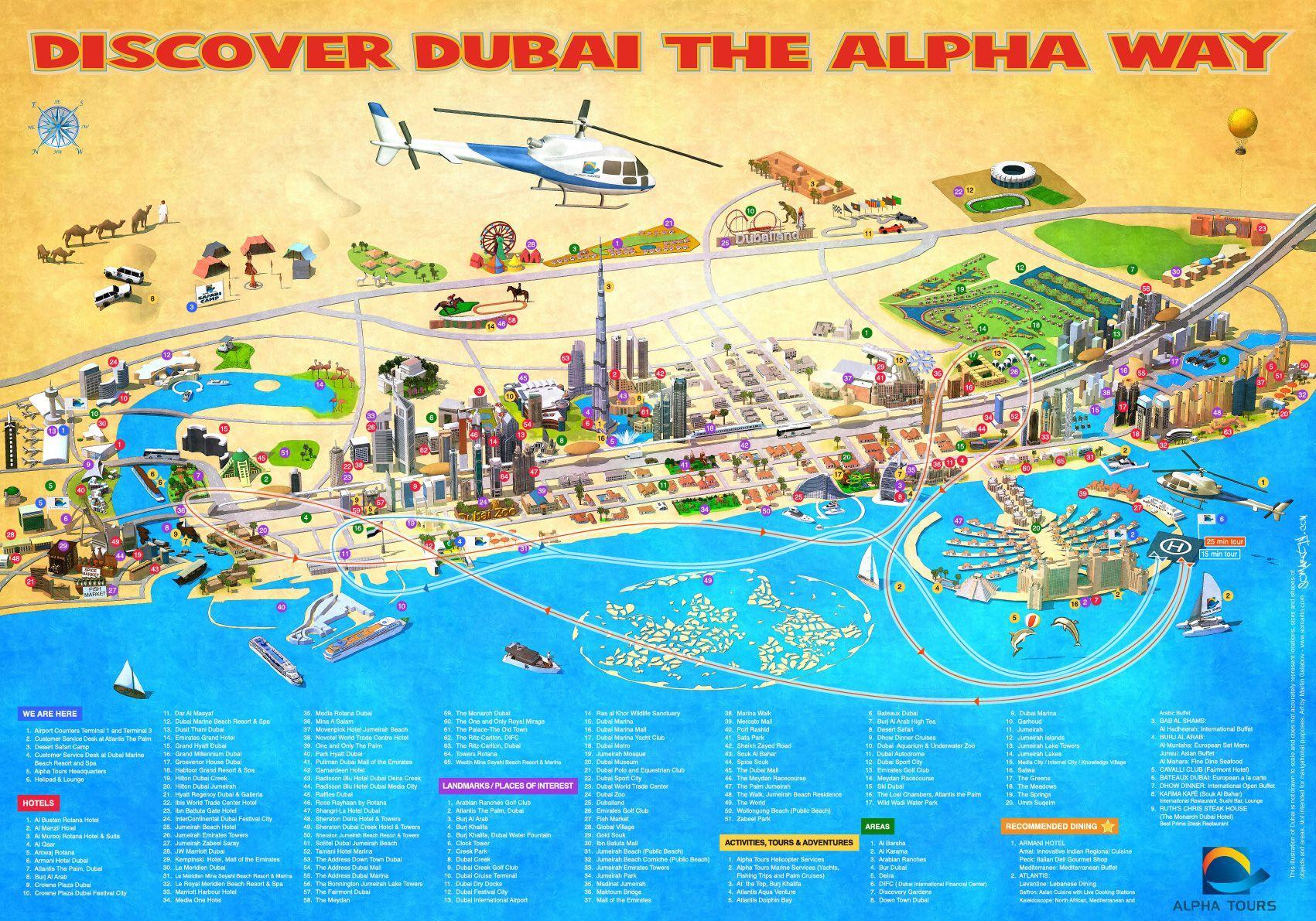 Dubai places to visit map dubai points of interest map for Dubai places to stay